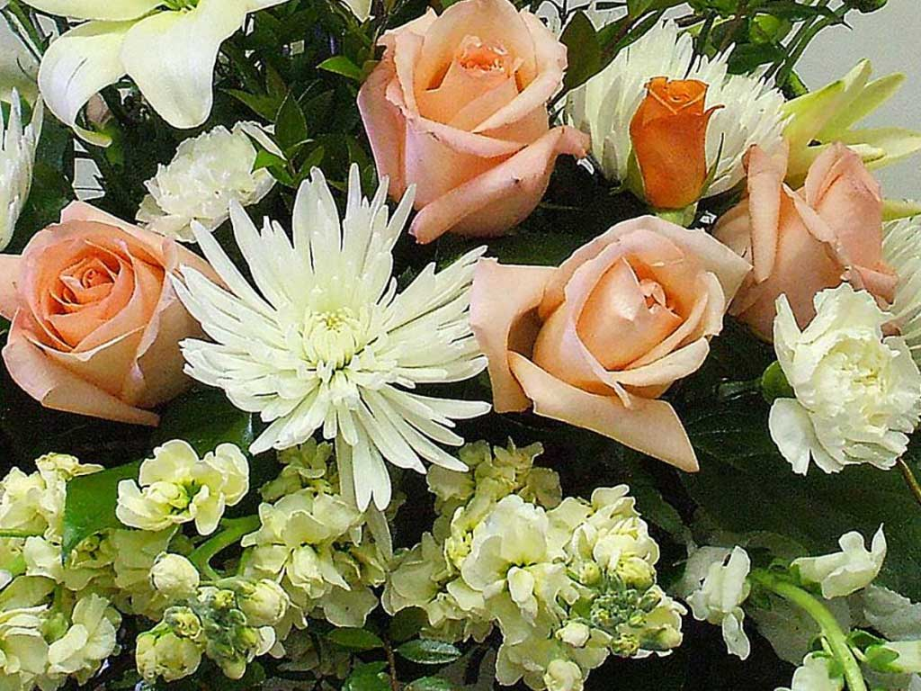 A bouquet of Stock and Peach Roses.